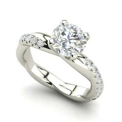 Twist Rope Style 2.5 Carat Si1/d Round Cut Diamond Engagement Ring White Gold