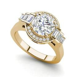 Halo Solitaire 1.2 Carat Vs2/f Round Cut Diamond Engagement Ring Yellow Gold