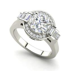 Halo Solitaire 1.05 Carat Vs2/f Round Cut Diamond Engagement Ring White Gold