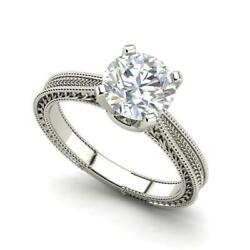 Hand-engraved Solitaire 1 Ct Vs1/f Round Cut Diamond Engagement Ring White Gold