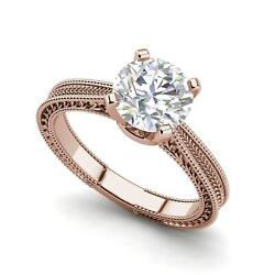 Hand-engraved Solitaire 1 Ct Vs1/f Round Cut Diamond Engagement Ring Rose Gold