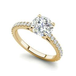 Classic 4 Prong 1.4 Carat Si1/d Round Cut Diamond Engagement Ring Yellow Gold