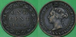 1898 Canada H Mark Large Penny Graded As Fine