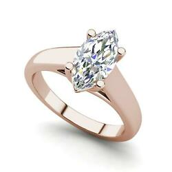 Solitaire 0.5 Carat Vvs2/f Marquise Cut Diamond Engagement Ring Rose Gold