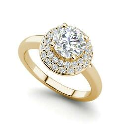 Double Halo Solitaire 1.6 Carat Vs1/h Round Cut Diamond Ring Yellow Gold