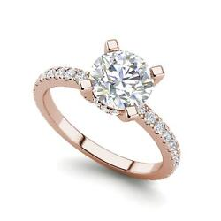 French Pave 1.75 Carat Si1/f Round Cut Diamond Engagement Ring Rose Gold
