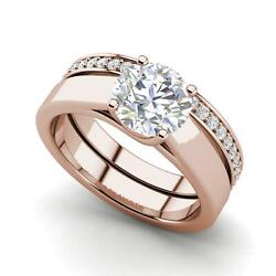 Channel Set 2.75 Carat Si1/d Round Cut Diamond Engagement Ring Rose Gold