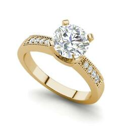 Cathedral 0.9 Carat Vvs1/d Round Cut Diamond Engagement Ring Yellow Gold