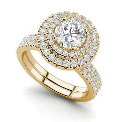 Double Halo 2.3 Carat Si1/f Round Cut Diamond Engagement Ring Yellow Gold