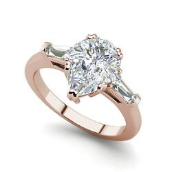 Baguette Accents 1.25 Ct Vs1/f Pear Cut Diamond Engagement Ring Rose Gold