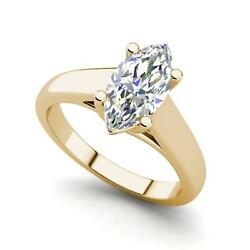 Solitaire 2.25 Carat Si1/d Marquise Cut Diamond Engagement Ring Yellow Gold