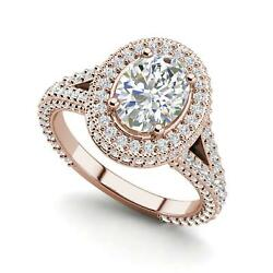 Pave Halo 3.85 Carat Si1/f Oval Cut Diamond Engagement Ring Rose Gold