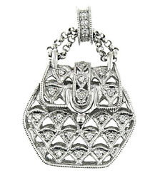 $3700  0.35 CT WHITE GOLD DIAMOND Antique Design HAND BAGPURSE PENDANT 18 KT $1,250.00