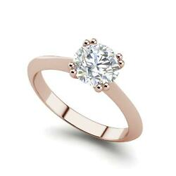 Double Prong 1.25 Carat Vs2/h Round Cut Diamond Engagement Ring Rose Gold