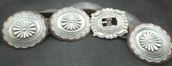 Vintage Sterling Silver Leather Concho Belt Native American Style Southwestern