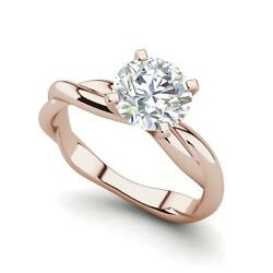 Twist Solitaire 1.5 Carat Si1/f Round Cut Diamond Engagement Ring Rose Gold