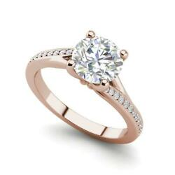Micropave Set 1.8 Carat Si1/d Round Cut Diamond Engagement Ring Rose Gold