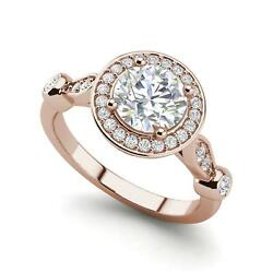 Halo Solitaire 1.85 Carat Vs1/d Round Cut Diamond Engagement Ring Rose Gold