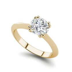 Double Prong 1 Carat Vs1/f Round Cut Diamond Engagement Ring Yellow Gold
