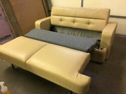 Flexsteel 74 Fold And Tumble Ft Sofa Tan Ultraleather Rv Boat Couch Bed