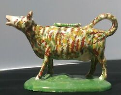 Colorful Antique 19th Century Spongeware English Pottery Cow Creamer Org. Cover