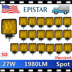 20x 27w Square Led Work Light Spot Beam Offroad Suv 4wd Boat Amber 5d Opticals