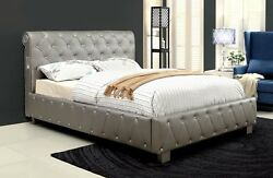 Contemporary Queen Size Bed Silver Fin Bedroom Furniture Padded Leatherette 1pc