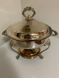 Vintage English Silver Mfg By Leonard Silverplate Chafing Dish Antique Usa Made