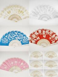 12 Pc Assorted Spanish Style Glitter Hand Fan For Wedding Dancing Party