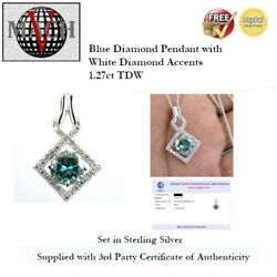 1.27ct Tdw Blue Diamond Pendant With White Accents - Sterling Silver + Coa