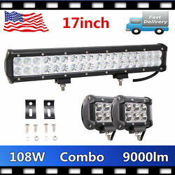17inch 108w Led Work Light Bar Offroad Suv Atv+2x 18w 4inch Pods Cube Lamps Ute