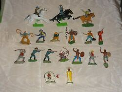 20pc Vintage Britains Ltd Cowboys And Indians Figures Mounted Riders And More