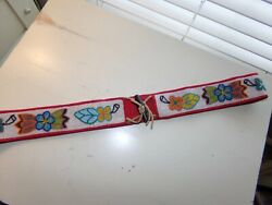 Gorgeous Vintage Native American Indian Beaded Belt Feathers Flowers Sz 34 Exc