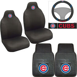 5pc Mlb Chicago Cubs Rubber Floor Mats Seat Covers And Steering Wheel Cover