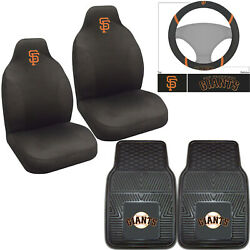 5pc Mlb San Francisco Giants Rubber Floor Mats Seat Covers Steering Wheel Cover