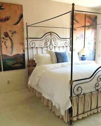 Iron Poster Bed With Canopy And Cast Gilt Details. Ca King Vintage