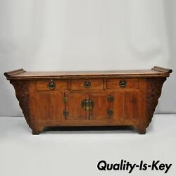 Antique Carved Hardwood Chinese Altar Console Table Sideboard Buffet Cabinet