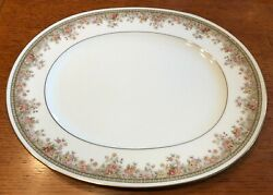Noritake Morning Jewel Oval Platter 13 Inches 2767 Ireland Floral Gold Trim