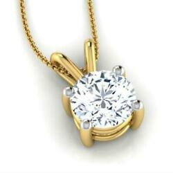 Necklace Round Pendant Real 18 Kt Yellow Gold 4 Prong 2 Ct Solitaire Women