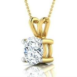 18k Yellow Gold Necklace Round Women Earth Mined 1 Carats Vs2 Pendant 4 Prong