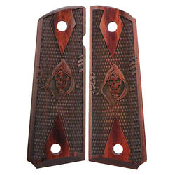 Officers Or Compact 1911 Model Grim Reaper Checkered Rosewood Laminate New Grips