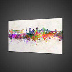 Mexico Skyline Watercolour Paint Style Canvas Print Wall Art Picture Photo