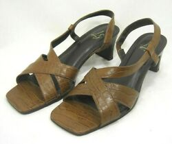 Women's Life Stride Brown Leather Sandals Size 8 1/2 M Heel 2 Shoes