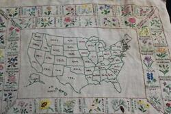 Vintage Paragon Usa State Flower Map Completed Embroidery Embroidered Sampler