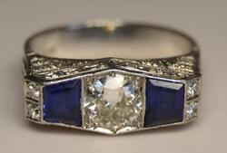 Antique Platinum Art Deco 0.85ct Diamond And Synthetic Sapphire Signed Estate Ring