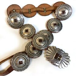 Native American Rg Sterling Silver Stamped Round Leather-backed Concho Belt