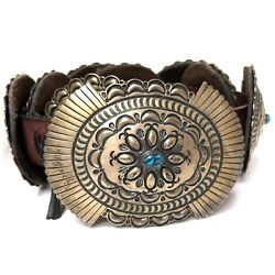 Navajo L. Reeves Sterling Silver Turquoise Stamped Oval Leather Concho Belt