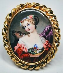 19th Century Swiss Enamel Hand-painted Lady And Deer Portrait 14k Gold Pin And Hair