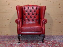 Chesterfield Queen Anne Armchair Original English Vintage In Red Leather.