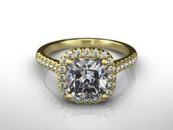 Natural Diamond Ring Halo Anniversary 14 Kt Yellow Gold 2.05 Ct Side Stones